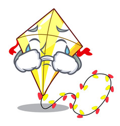 crying cute kite flying the on mascot vector image