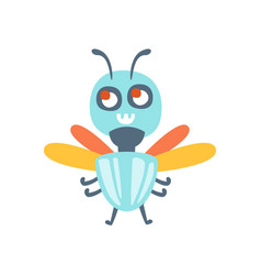 cute cartoon fly colorful character vector image