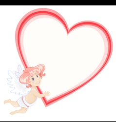 cute cupid with heart vector image
