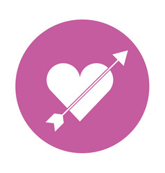 Cute heart love with arrow vector