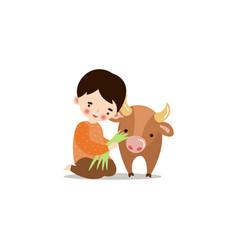 Cute little boy feeding calf with grass raster vector