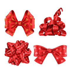 cute red ribbons and bows top and side view set vector image