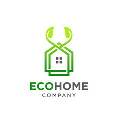 Eco home logo design vector