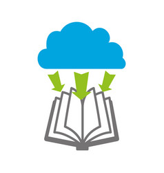 electronic book with cloud computing vector image