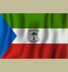 equatorial guinea realistic waving flag national vector image