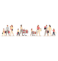 family shopping parents buy gifts for happy kids vector image