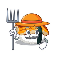 Farmer unagi sushi served above mascot plate vector