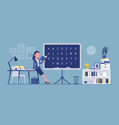 female teacher at the blackboard vector image