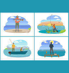 Fisherman seashores people set vector
