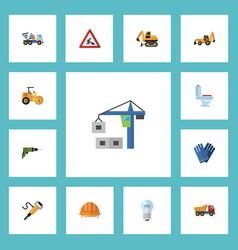 flat icons mitten tractor excavator and other vector image