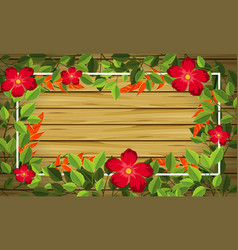 flower on wooden background vector image