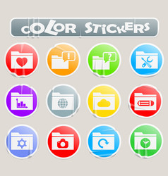 folder color stickers vector image