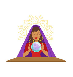Fortune teller watching crystal ball occult vector