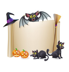 Halloween scroll sign and bat vector