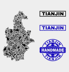 Handmade composition tianjin city map and vector