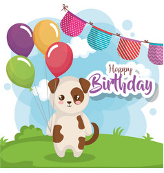 Happy birthday card with dog vector