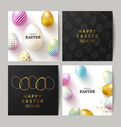 happy easter set cardsbeautiful background vector image