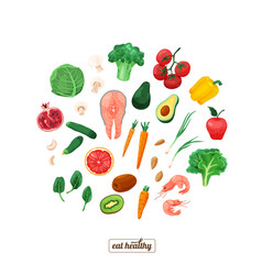 Healthy food vegetables and vector