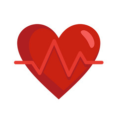 Heart rate icon flat style vector