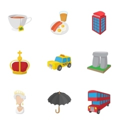 Holiday in United Kingdom icons set cartoon style vector