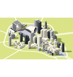Isometric low poly La Defense district map vector