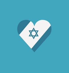 israel flag icon in heart shape in flat design vector image