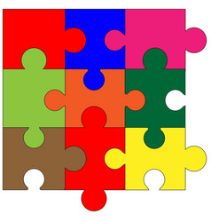 Jigsaw corner pieces in colour vector