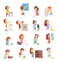 Kids cleaning cartoon icons set vector