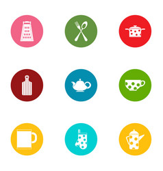 Kitchen service icons set flat style vector