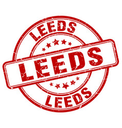 Leeds red grunge round vintage rubber stamp vector
