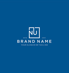 Letter nu with a square design vector