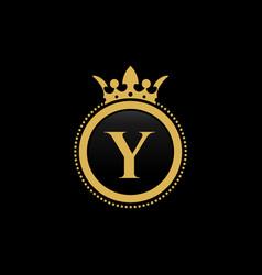 letter y royal crown luxury logo design vector image