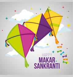 Makar sankranti celebration with kites design vector