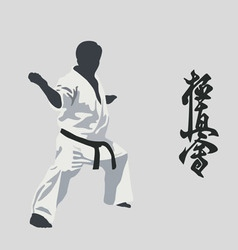 Man of the engaged karate vector
