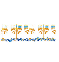 menorahs seamless border hanukkah vector image