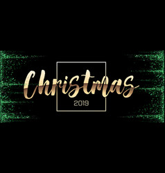 merry christmas gold glitter lettering design with vector image