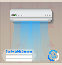 Modern conditioner with cold air flow at home vector