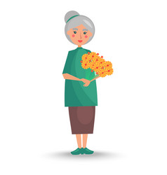 Old woman holds big bouquet of yellow flowers vector