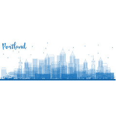 Outline portland usa skyline with blue buildings vector