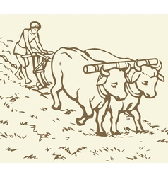 Peasant treated field vector