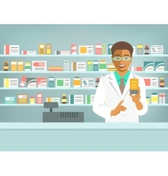 Pharmacist black man with medicine in pharmacy vector image