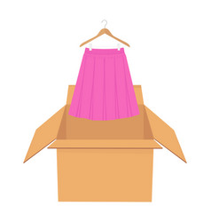Pink elegant skirt on hanger shopping sale concept vector
