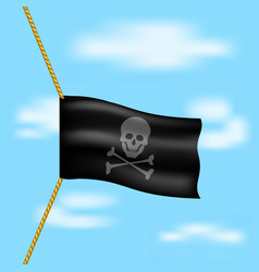 pirate flag with skull symbol hanging on rope vector image