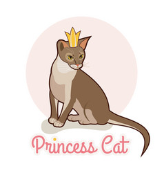Princess cat with golden crown abyssinian cat vector