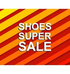 Red striped sale poster with SHOES SUPER SALE text vector