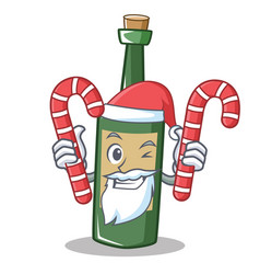 Santa with candy wine bottle character cartoon vector