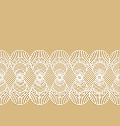 seamless decorative lace border on beige vector image