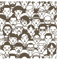 Seamless pattern with faces or heads of cute vector