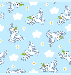 seamless with white doves on a vector image