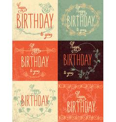 set happy birthday hand lettering calligraphy vector image